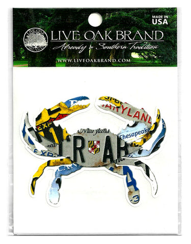 LICENSE PLATE CRAB DECAL
