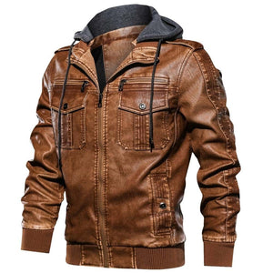 2019 Men's Military Casual Army Leather Bomber Coat Jacket