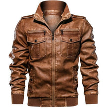 Load image into Gallery viewer, 2019 Men's Military Casual Army Leather Bomber Coat Jacket