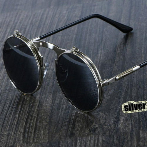 3057 CCSPACE Retro Round Metal Steampunk Sunglasses