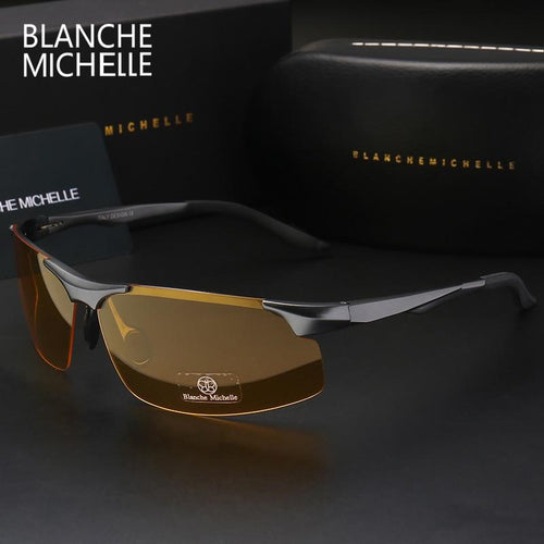 Aluminum Magnesium Men's UV400 Polarized Sport Driving Night Sunglasses