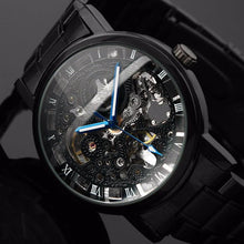 Load image into Gallery viewer, Black Men's Skeleton Stainless Antique Steampunk Casual Mechanical Watch