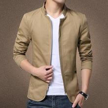 Load image into Gallery viewer, British Style Men's Cotton Solid Casual Collared Slim Fit Jacket Coat - 4color