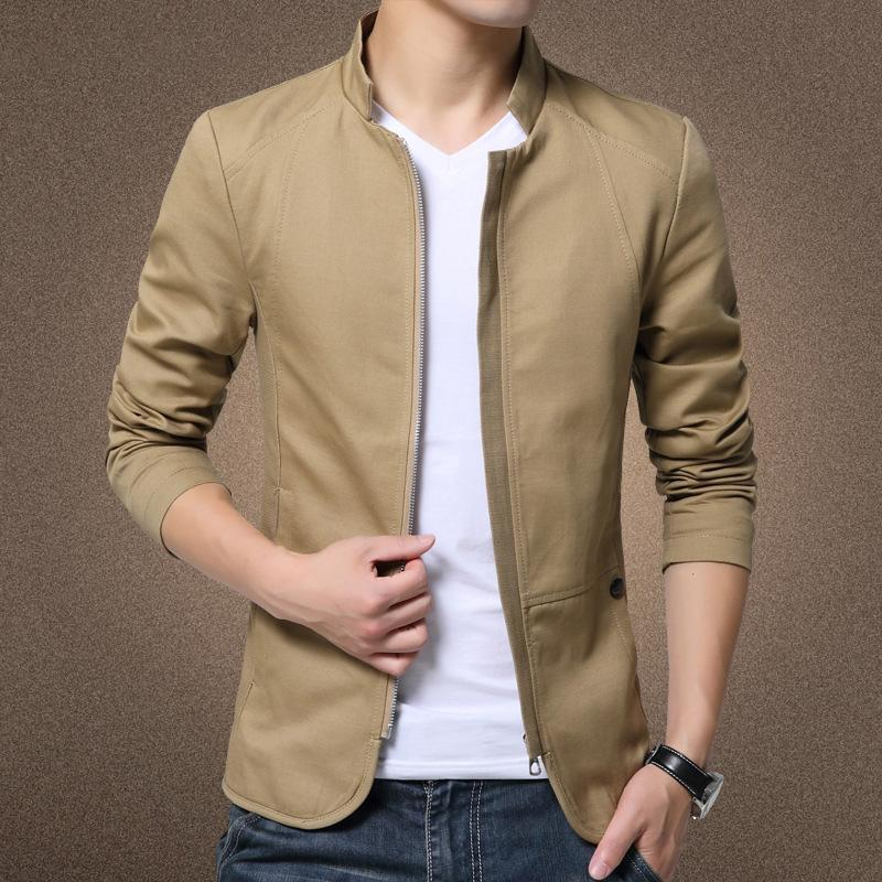 British Style Men's Cotton Solid Casual Collared Slim Fit Jacket Coat - 4color