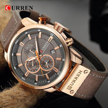 Load image into Gallery viewer, CURREN Luxury Men's Analog Leather Sports Army Military Gold Quartz Watch