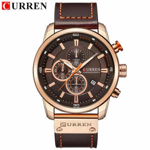 CURREN Luxury Men's Analog Leather Sports Army Military Gold Quartz Watch