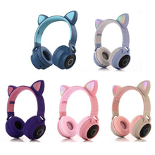 Load image into Gallery viewer, Cat Ear Portable Bluetooth LED Headphones