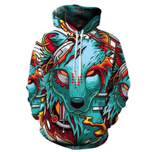 Load image into Gallery viewer, Color Wolf Men/Women's 3d Print Casual Hoodie Pullover Sweatshirt