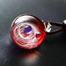 Load image into Gallery viewer, Cosmic Handmade Galaxy Glass Pendant w/ Rope