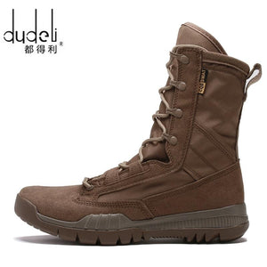 DUDELI Men's Military Leather Special Force Desert Tactical Combat Army Boots