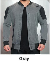 Load image into Gallery viewer, Denim Casual Outwear Sportswear Slim Fit Light Bomber Jacket - Black/Grey