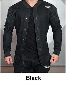 Denim Casual Outwear Sportswear Slim Fit Light Bomber Jacket - Black/Grey