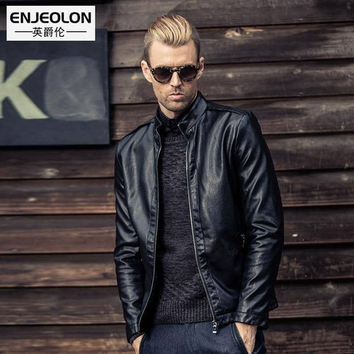 Enjeolon Men's Black Casual Motorcycle Leather Jacket