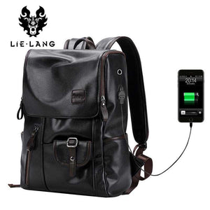 "External USB Charge Anti-theft Leather Travel Bag, 14"" laptop carrying capacity"