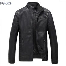 Load image into Gallery viewer, FGKKS  Men's Black Leather Suede Motorcycle Bomber Jacket
