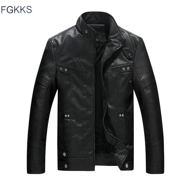 FGKKS Men's Leather Stand Collar Jacket - Black/Red/Brown