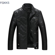 Load image into Gallery viewer, FGKKS Men's Leather Stand Collar Jacket - Black/Red/Brown