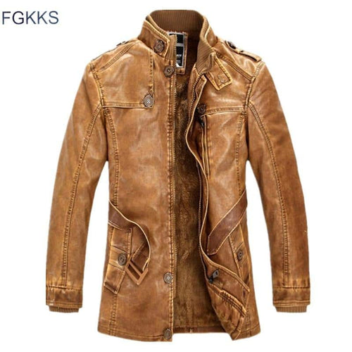 FGKKS Men's Leather Suede Motorcycle Jacket - Yellow/Brown/Grey/Blue