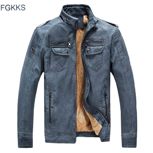 FGKKS PU Leather Fur-lined Men's Black Red Brown Solid Slim Suede Jacket