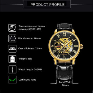 FORSINING 3D Logo Black Gold Montre Homme Mechanical Watch Skeleton Design