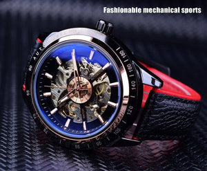 Forsining Transparent Genuine Red Black Waterproof Skeleton Watch