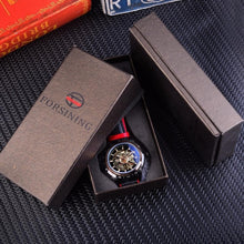 Load image into Gallery viewer, Forsining Transparent Genuine Red Black Waterproof Skeleton Watch
