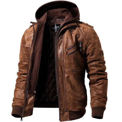 Genuine Leather Hooded Motorcycle Jacket