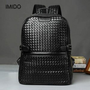 IMIDO Brand Designer Men's High Quality Leather Mochila Black Backpack