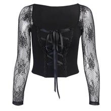 Load image into Gallery viewer, InsGoth Vintage Elegant Black Lace Up Gothic Mesh Top