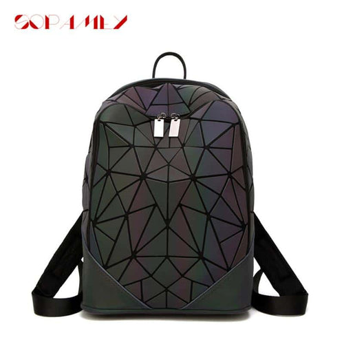 JOOZ Fashion Women PVC Geometric Luminous Holographic Backpack