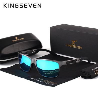 KINGSEVEN Men Polarized Aluminum Magnesium Rectangle Sunglasses