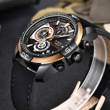 Load image into Gallery viewer, LIGE Men's Luxury Casual Leather Sport Waterproof Gold Quartz Watch