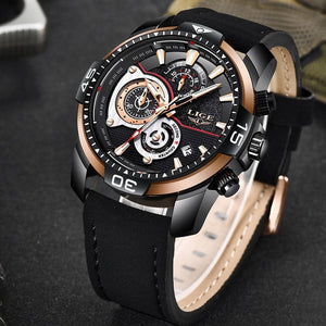 LIGE Men's Luxury Casual Leather Sport Waterproof Gold Quartz Watch