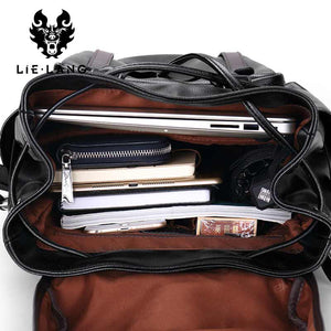 Leather Anti-theft Preppy Style Pack, laptop carrying capacity