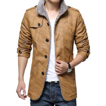 Load image into Gallery viewer, Leather Men's Long Sleeve Stand Collar Slim Fit Jacket Trench Coat - 5color