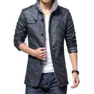 Leather Men's Long Sleeve Stand Collar Slim Fit Jacket Trench Coat - 5color