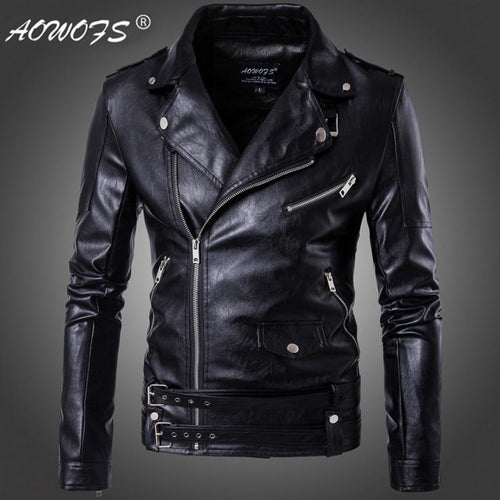Leather Motorcycle Bomber Turn-down Collar Slim-fit Jacket