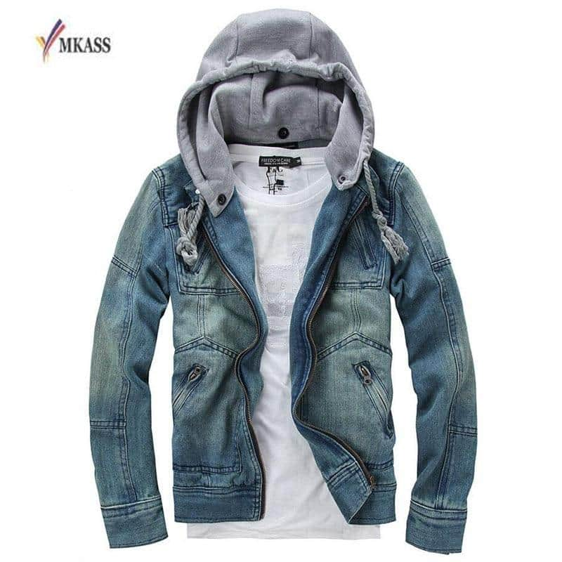 MKASS Men's Denim Detachable Hooded Jacket