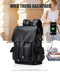 Men Fashion Elegant Style USB Charge Waterproof Backpack