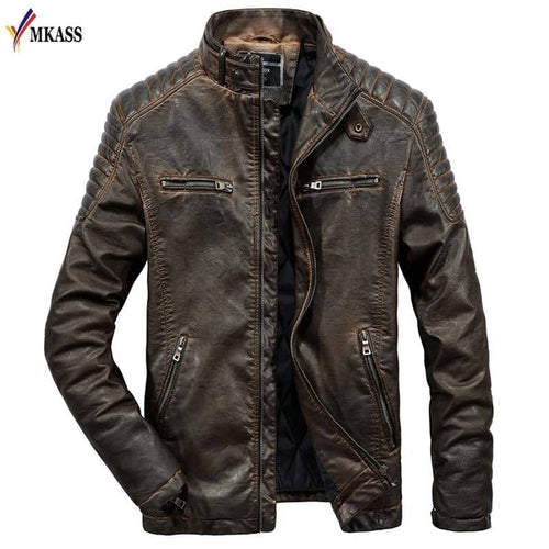 Men's Genuine Goat Skin Black Bomber Motorcycle Biker Coat - Black/Brown