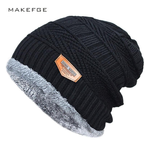 Men's  Hat Knitted Black Soft Knitted Cotton Skullies Beanie