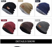 Load image into Gallery viewer, Men's  Hat Knitted Black Soft Knitted Cotton Skullies Beanie