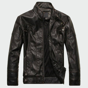 Men's Leather High Quality Classic Motorcycle Jacket - Black/Coffee/Yellow