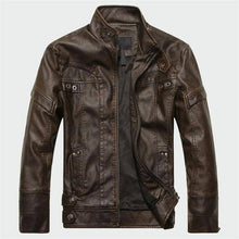 Load image into Gallery viewer, Men's Leather High Quality Classic Motorcycle Jacket - Black/Coffee/Yellow