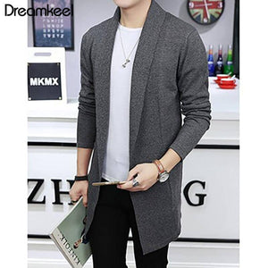 Men's Long Knit Cardigan Slim Sweater Windbreaker Business Cotton Casual Jacket