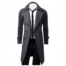 Load image into Gallery viewer, Men's Long Slim Stylish Overcoat Double Breasted Trench Coat - Grey/Tan/Black