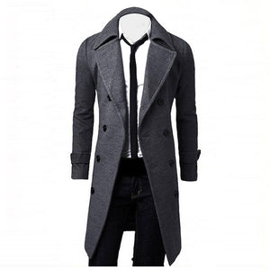 Men's Long Slim Stylish Overcoat Double Breasted Trench Coat - Grey/Tan/Black