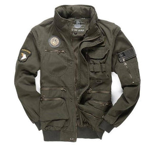 Men's Military 101 Removable Sleeve Casual Hooded Flight Jacket