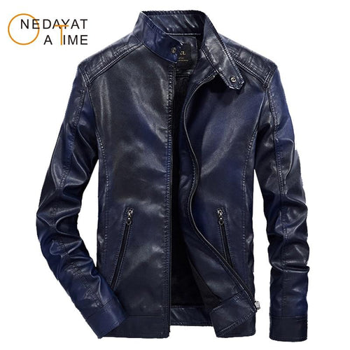 Men's Multi Color Motorcycle Biker Velvet Inner PU Leather Jacket Coat