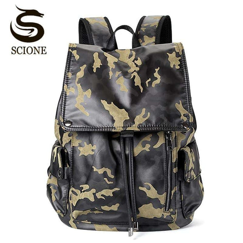 Men's PU Leather Fashion Yellow Camouflage Backpack
